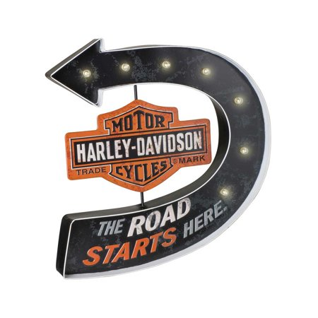 Harley-Davidson Road Starts Here Bar & Shield Marquee Metal Pub Sign HDL-15519, Harley Davidson