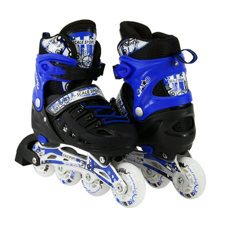 In Line Speed Skating Wheels (Size 4-6 Adjustable Kids Light Up Inline Skates)