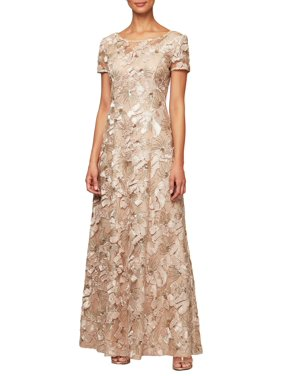 Alex Evenings | Petite Sequin-Detail Short-Sleeve Gown | Cream | Size 8 Petite