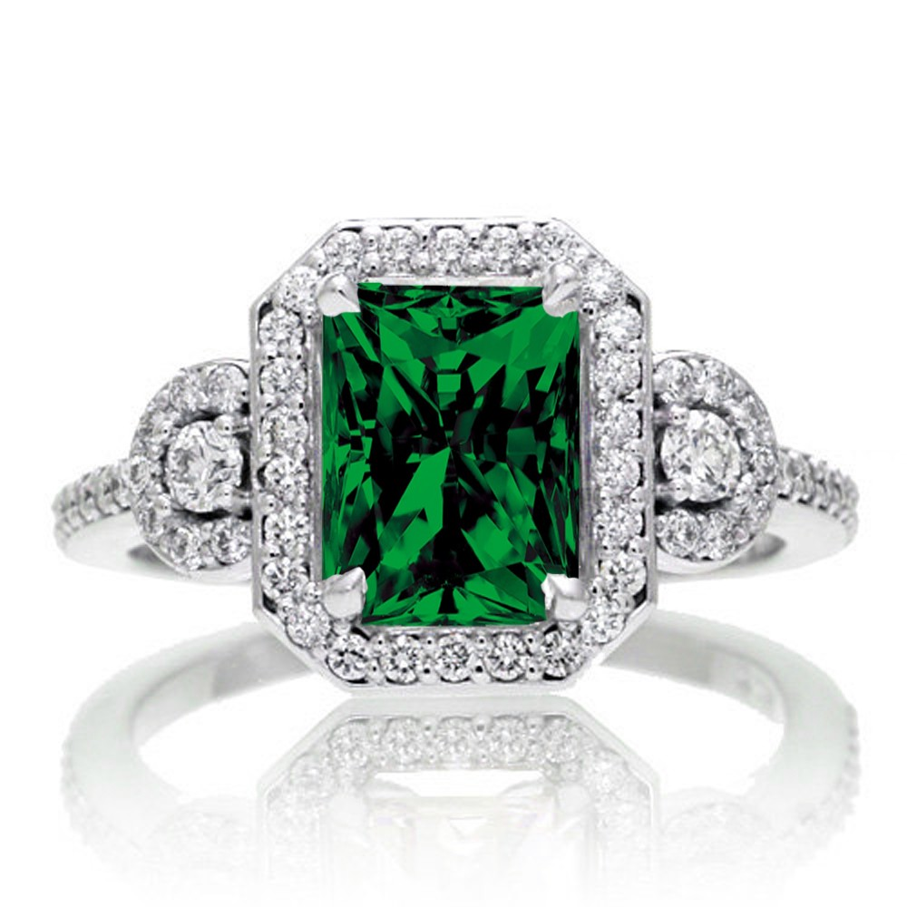2 Carat Emerald Cut Emerald and White Diamond Halo Engagement Ring on 10k White Gold by JeenJewels