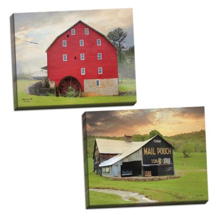 Gango Home Decor Country-Rustic Mail Pouch Barn & Willow Grove Mill by Lori Deiter (Ready to Hang); Two 18x12in Hand-Stretched (Willow Grove)