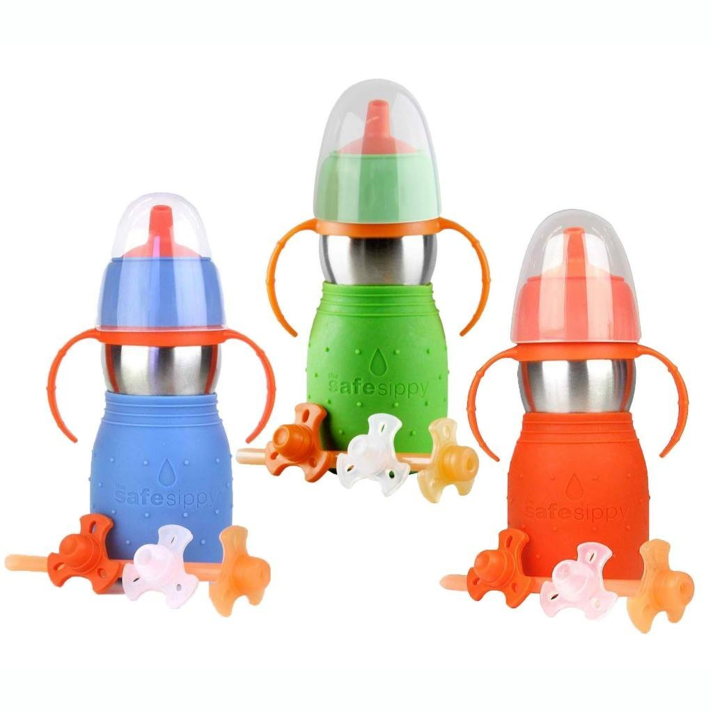 The Safe Sippy 2 2-in-1 Sippy to Straw Bottle, 3 Pack, Green/Blue/Orange