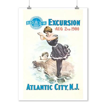Atlantic City Vintage Poster USA c. 1900 (9x12 Art Print, Wall Decor Travel Poster)