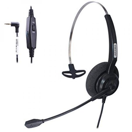 Arama Wired Headset Mono with Noise Canceling Mic Volume Mute for ...