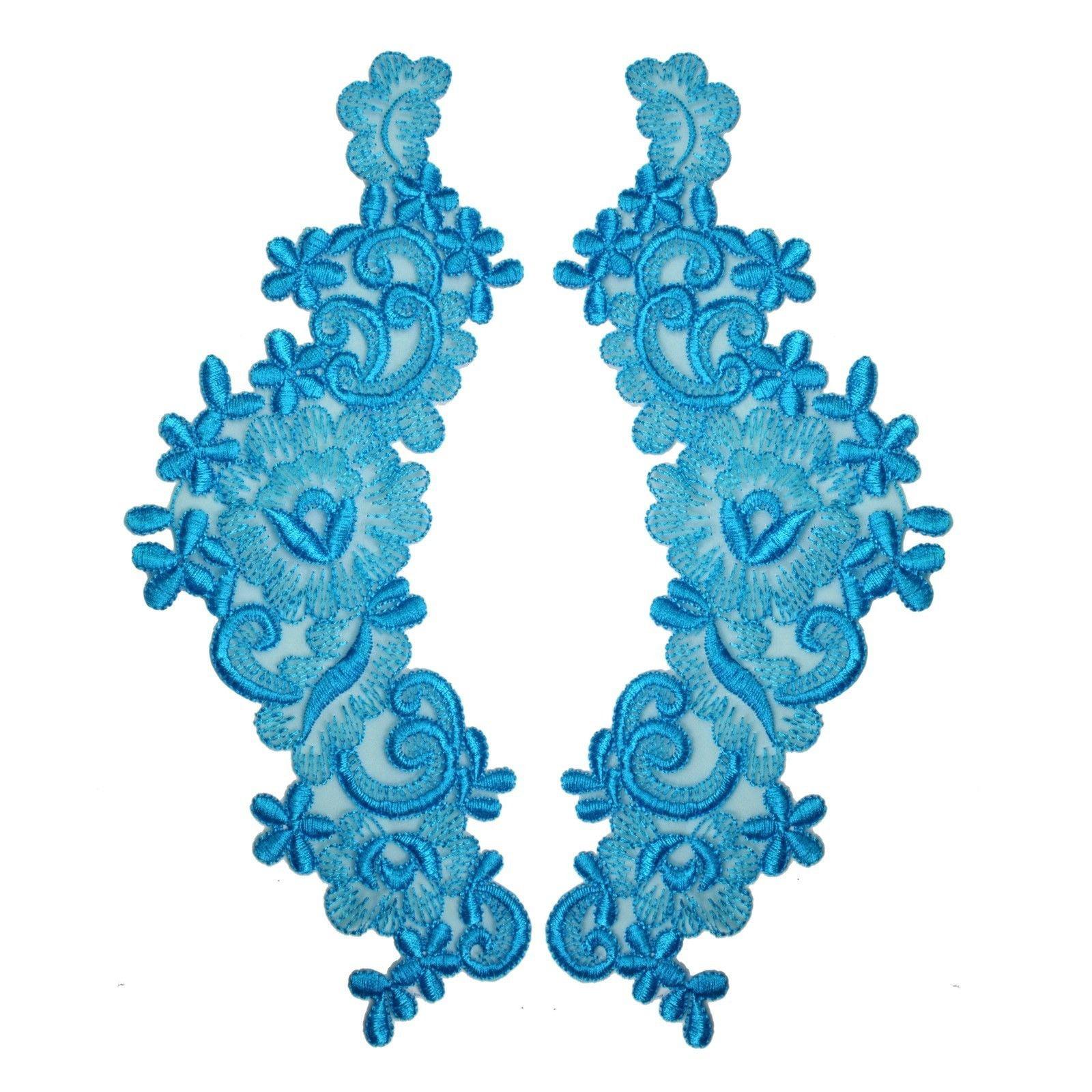 "10.5""X4"" Floral Embroidered Sheer Organza Motif Applique Green Navy Orange Blue"
