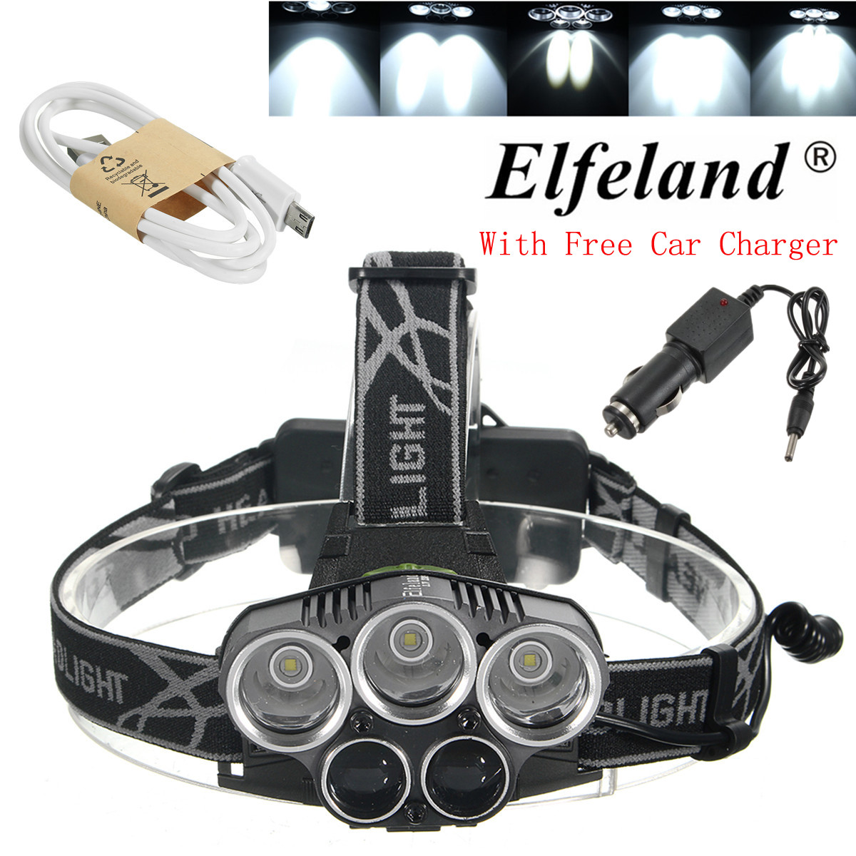 Elfeland 6000Lumens 5X T6 LED USB Rechargeable Headlamp Headlight Head Light Torch Waterproof + USB Cable + Car Charger For Hiking Camping
