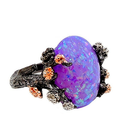 Lab Created Alexandrite Ring - Ginger Lyne Collection Henrietta Elven Tree Branch Setting Oval Shape Lab Created Fire Opal Ring (10)