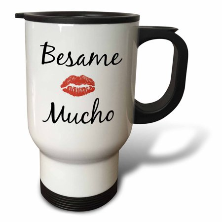 3dRose besame mucho kiss me in Spanish picture of red lips on white back - Travel Mug, 14-ounce, Stainless Steel
