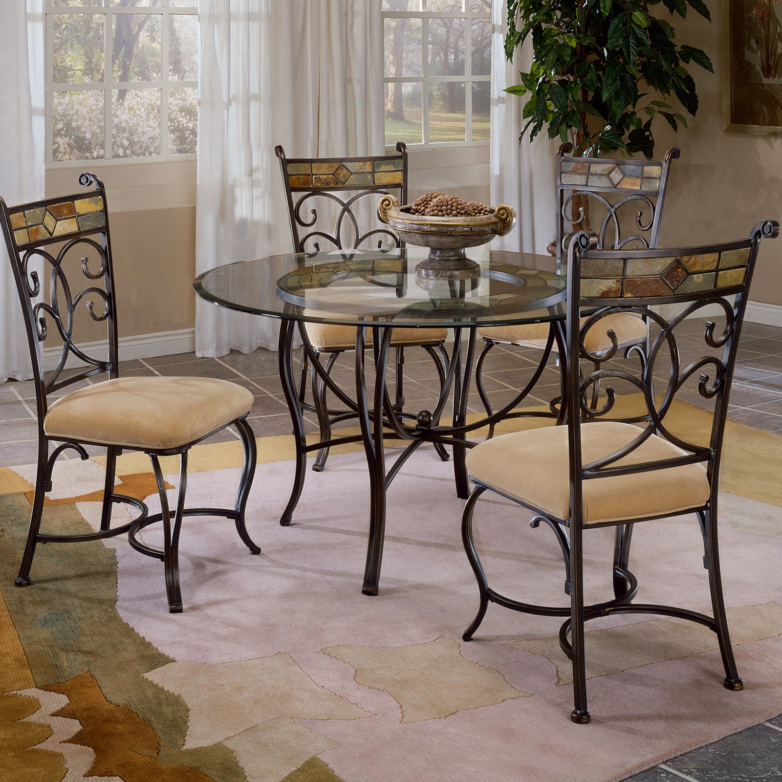 Pompei 5-Piece Dining Set with Glass Top-Black Gold/Slate Mosaic
