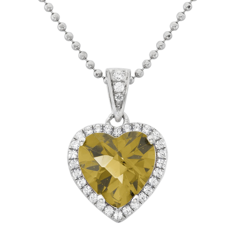 Platinum Plated Sterling Silver Heart Cut Lemon Quartz Pave Cubic Zirconia Pendant Necklace by Collection Bijoux