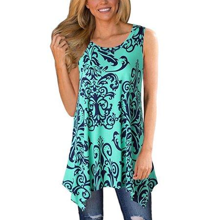 Womens T-Shirts Bohemian Floral Printed Short Sleeve/Sleeveless Swing Tunic Casual Tee Top Asymmetrical Blouse Shirt
