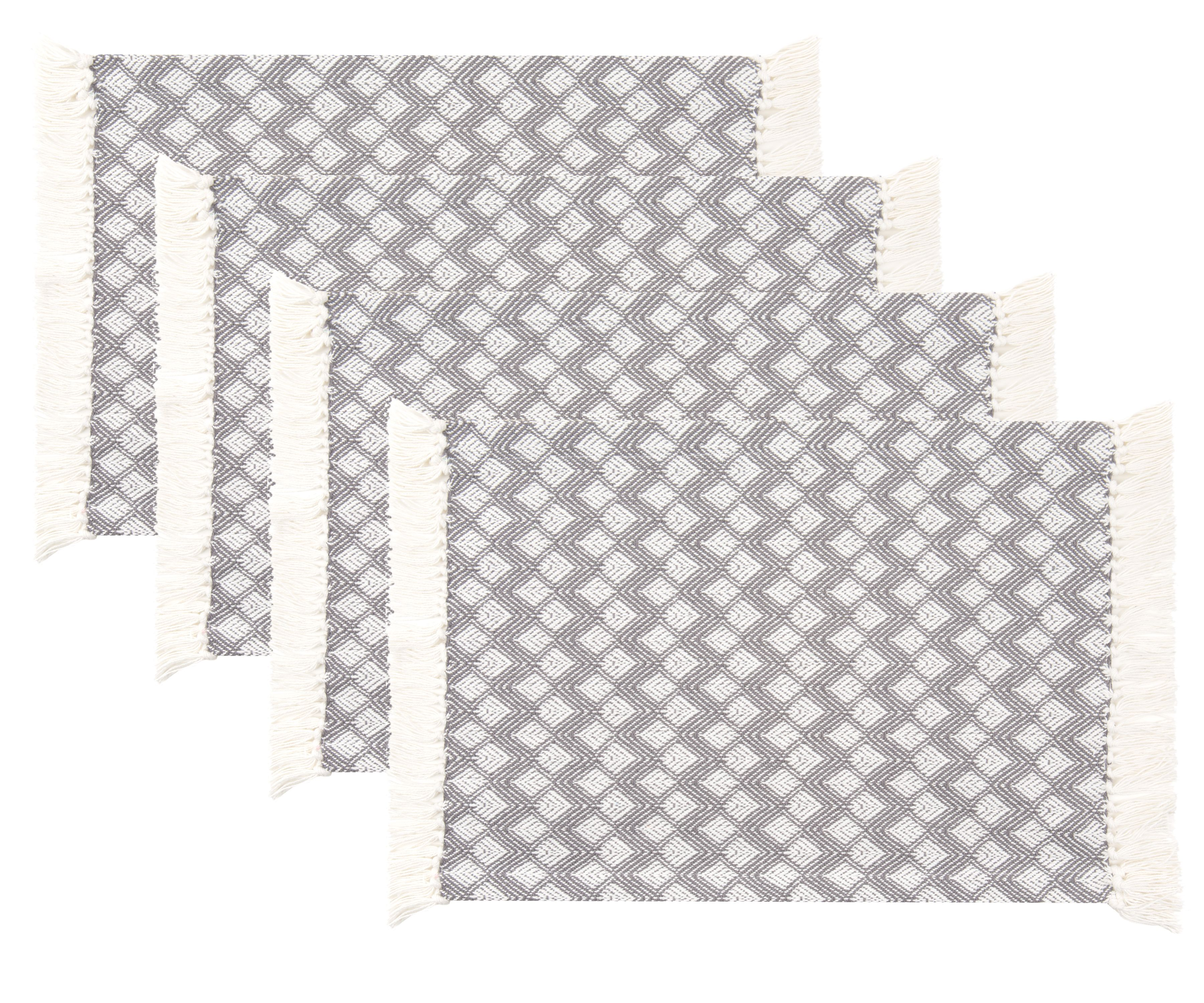 Sticky Toffee Cotton Woven Placemat Set With Fringe Scalloped Diamond 4 Pack Gray 14 In X 19 In Walmart Com Walmart Com