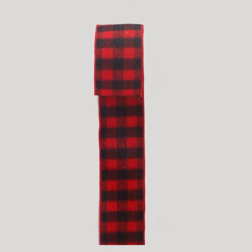 """6 Red and Black Buffalo Plaid Double Wired Christmas Ribbon 2.5"""" x 60 Yards"""