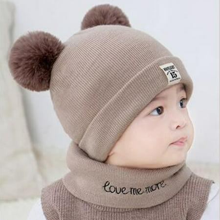 1b88f21fdb161 Baby Hats Winter - New Autumn Winter Christmas Hat Baby Boys Girls Hat Warm  Windproof Hat + Scarf Neckerchief - Walmart.com
