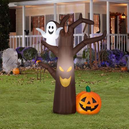 Airblown Halloween Inflatable Spook Tree With Pumpkin And Ghost Scene 7 Foot Height