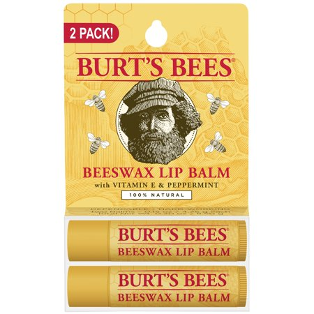 Burt's Bees 100% Natural Moisturizing Lip Balm, Beeswax, 2 Tubes in Blister Box