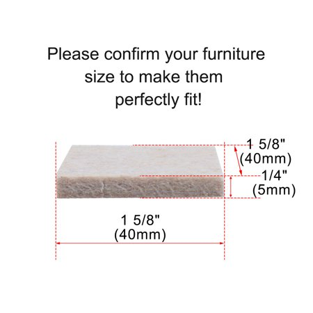 "Felt Furniture Pad Square 1 5/8"" Self Adhesive Anti-scratch Bed Protector 20pcs - image 1 of 7"