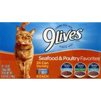 (24 Pack) 9Lives Seafood and Poultry Favorites Variety Pack, 5.5 oz. Cans
