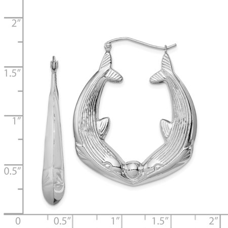 Sterling Silver Rhodium-plated Dolphin Hoop Earrings QE4707 - image 1 de 2