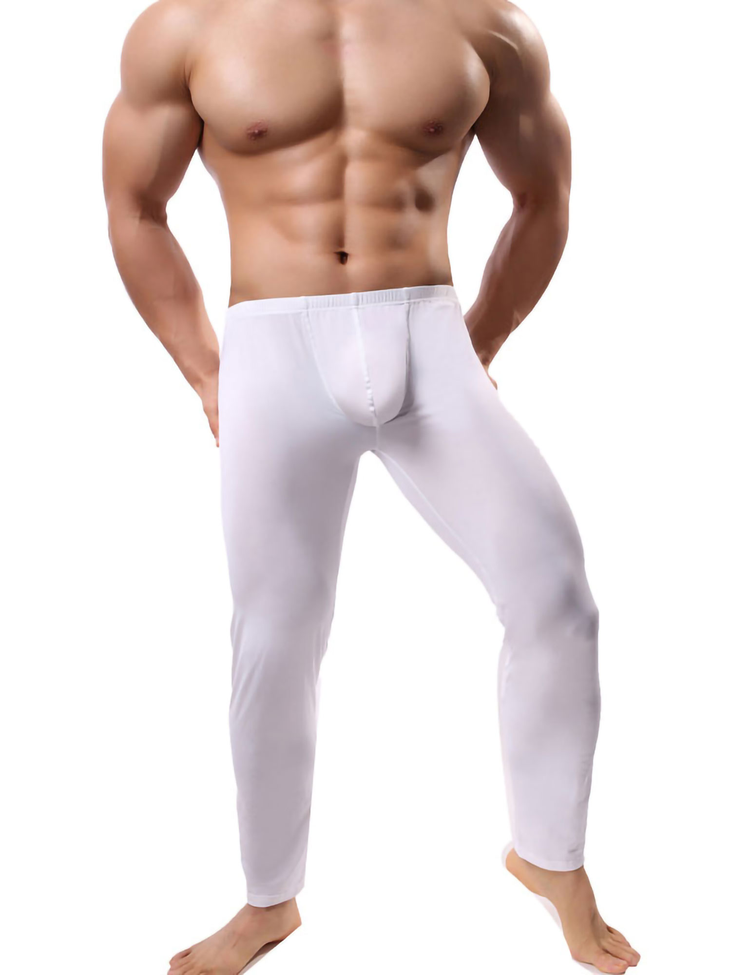 Mens Smooth Thermal Underpants Pouch Tights Trousers Long John Underwear Fitness