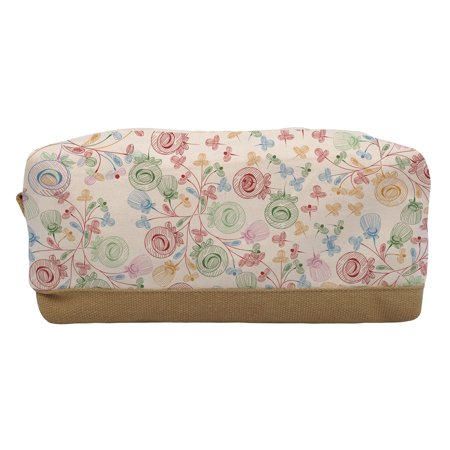 96bbd0845 Floral Pattern-3 Beige-Sand Brown Printed Canvas Makeup Cosmetic Pouch  WAS_06