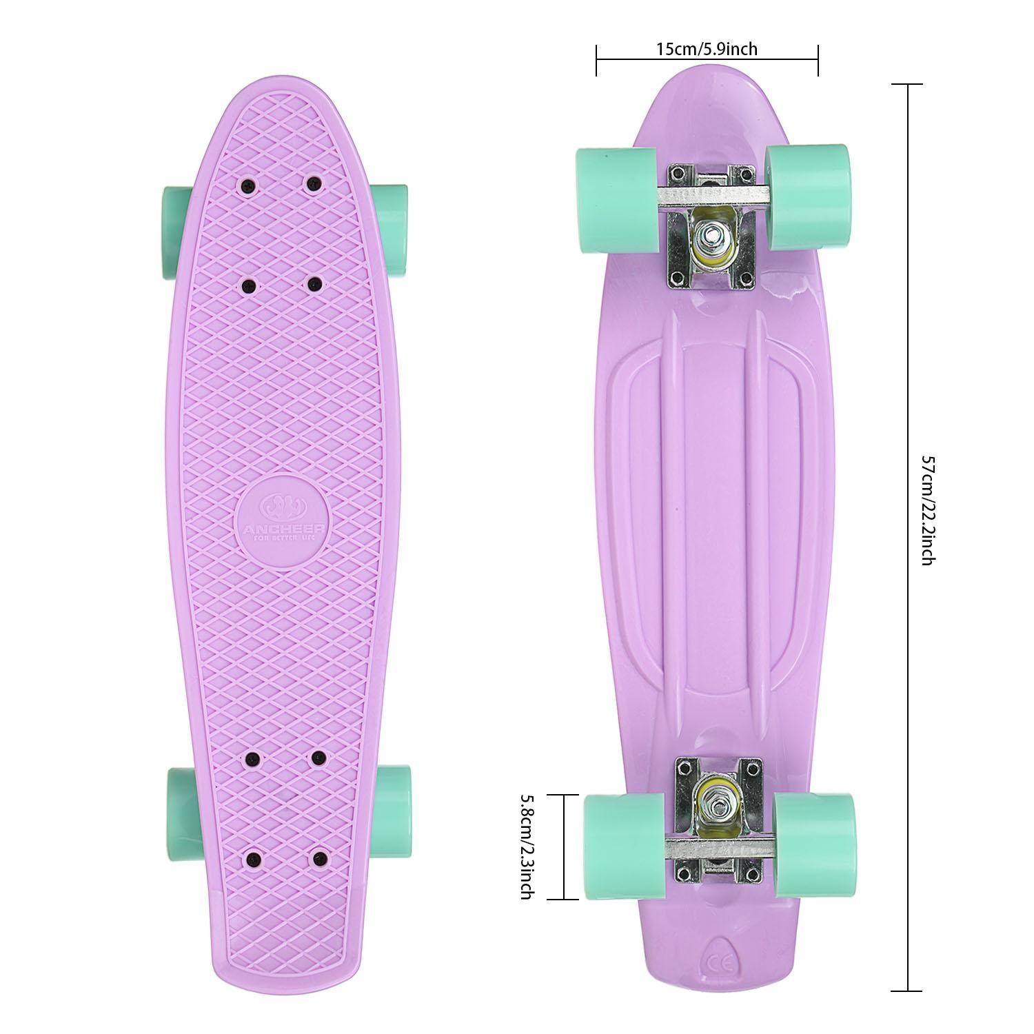 "22"" Skateboard for Boys and Girls High Bounce Complete Complete Deck Skateboard with 4 wheel RYSTE by"