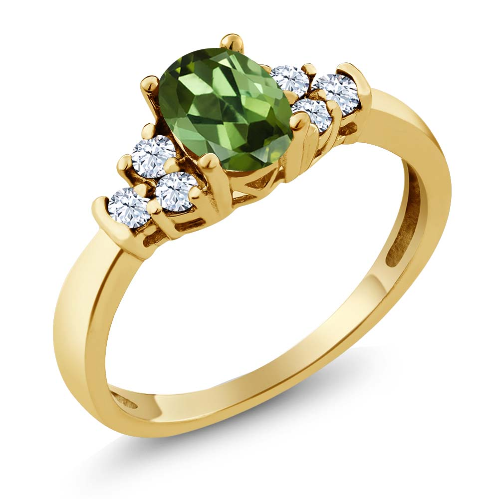 0.82 Ct Oval Green Tourmaline White Topaz 18K Yellow Gold Ring by
