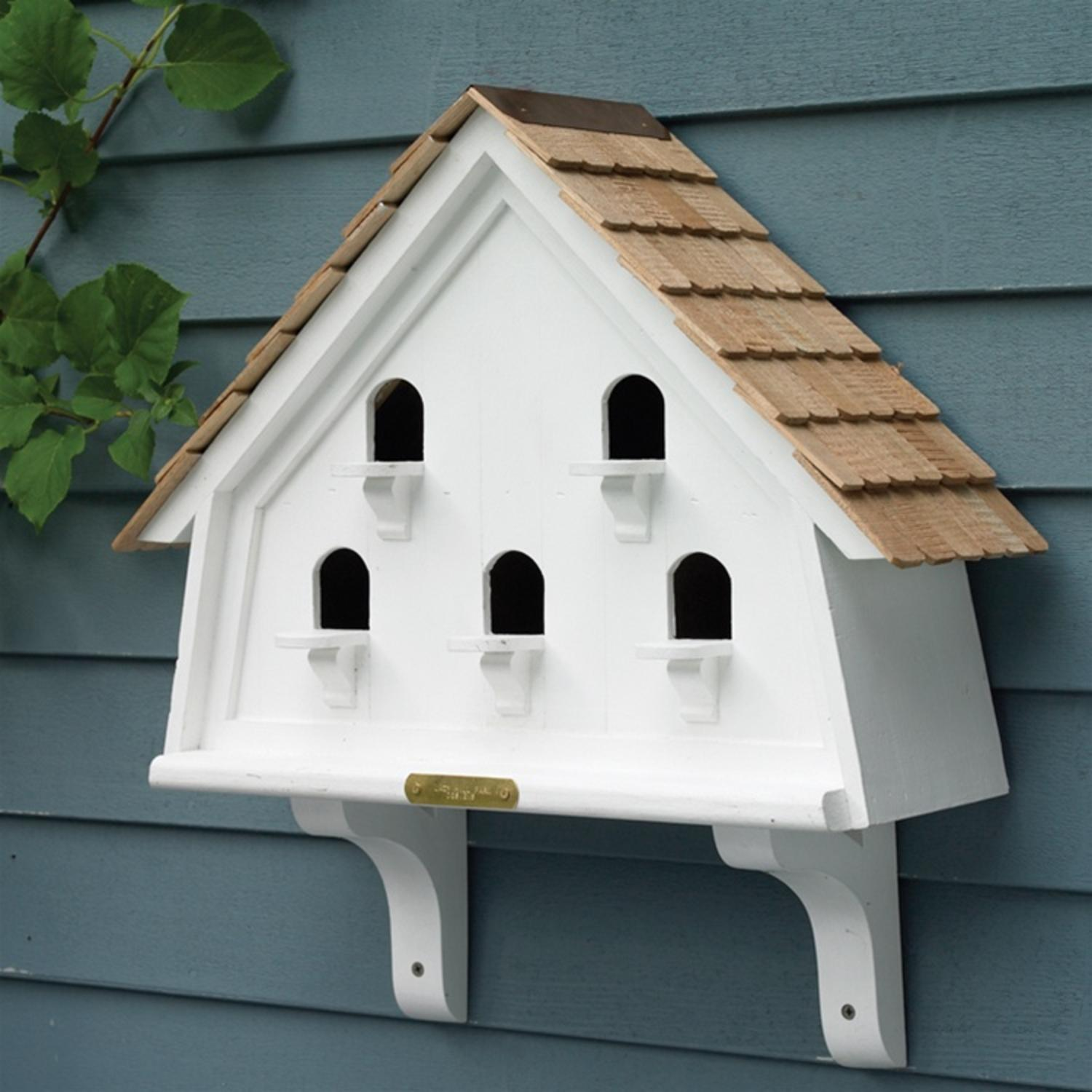 White Fully Functional Classic Flat Outdoor Garden Birdhouse 20""