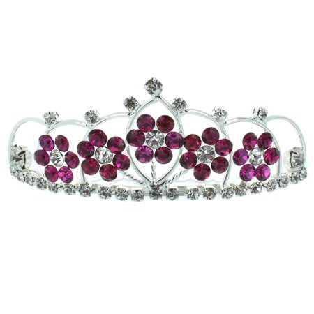 Kate Marie 'Kyle' Adorable Floral Rhinestones Tiara Combs in Dark Pink ()