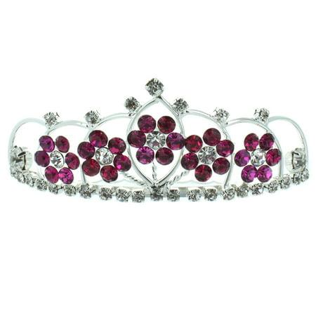 Kate Marie 'Kyle' Adorable Floral Rhinestones Tiara Combs in Dark Pink - Pink Tiara