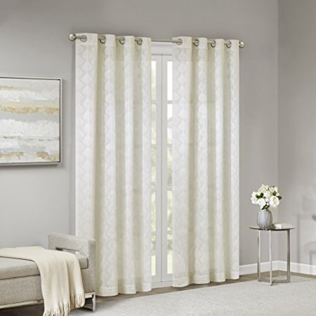 """Madison Park Nadal Leaf Embroidered Window Sheer Curtain Voile Panel for Bedroom Living Room and Dorm, 50""""X63"""", White - image 3 de 4"""