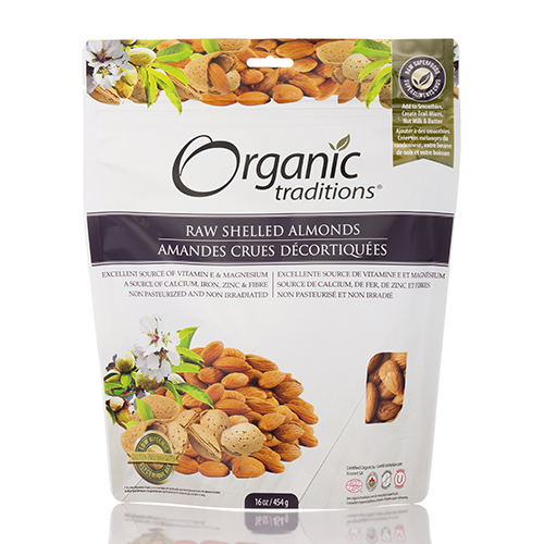 Raw Shelled Almonds - 16 oz (454 Grams) by Organic Traditions