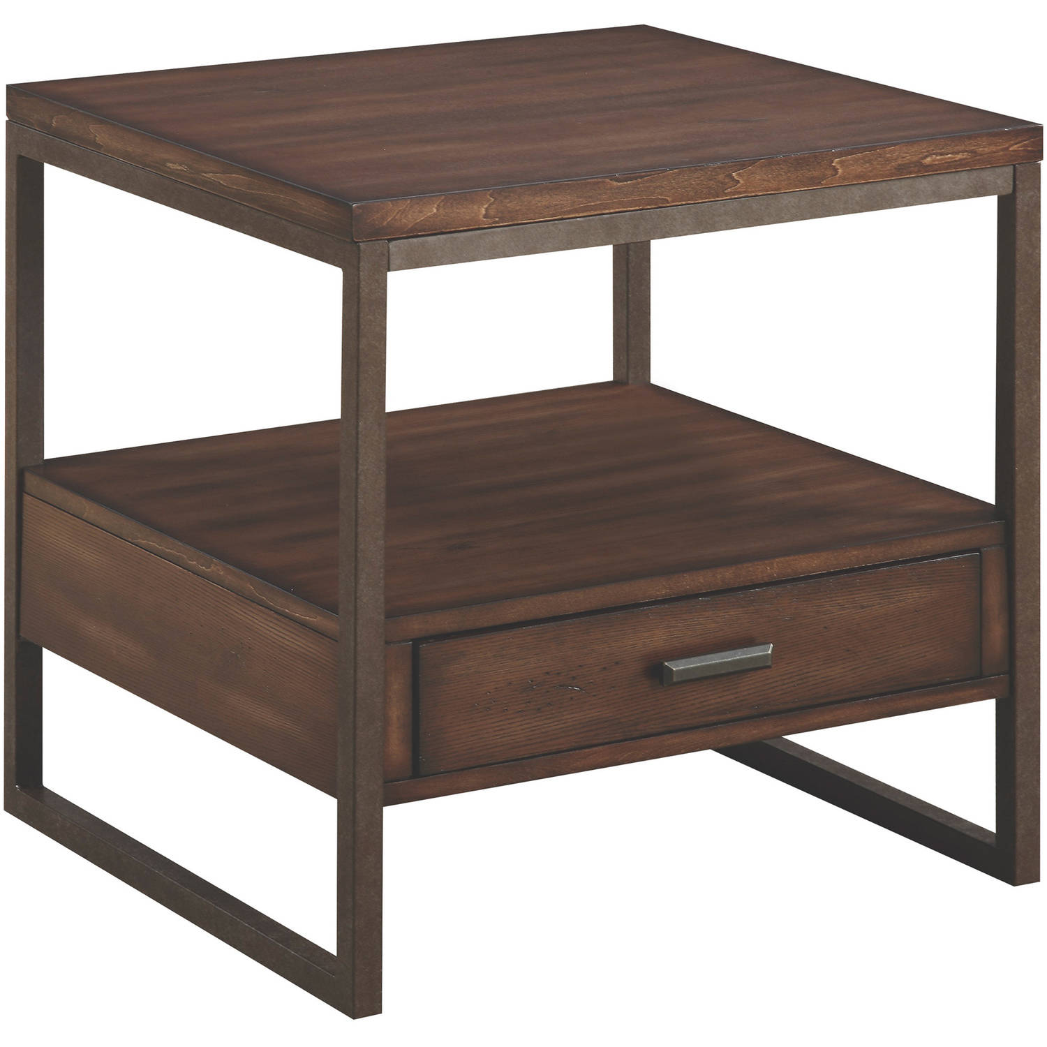 Coaster Wood & Metal End Table, light brown finish