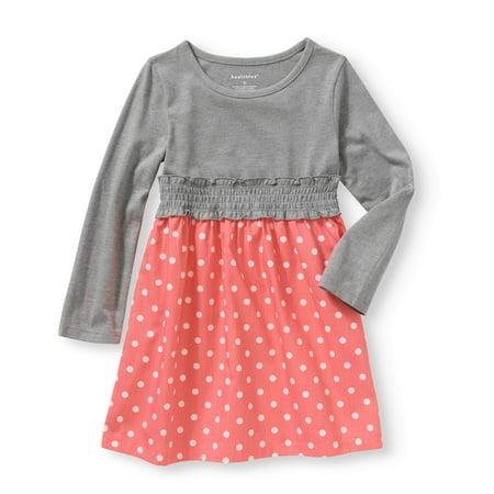 a33d178b54c2 Baby Toddler Girl Long Sleeve Knit   Woven Dress - Walmart.com