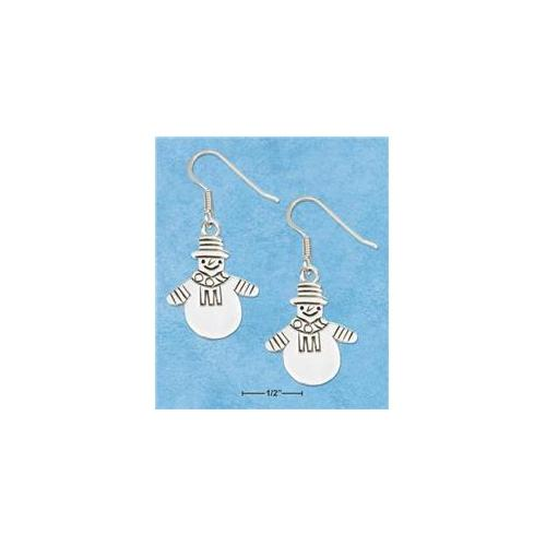 Sterling Silver Flat High Polished Dressed Snowman Earrings On French Wire S