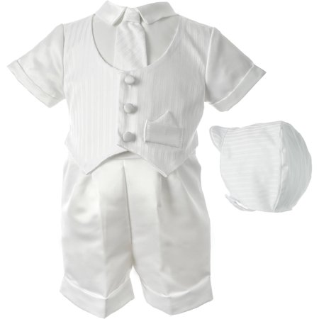 1de0345b6060 Haddad Brothers - Christening Baptism Newborn Baby Boy Special Occasion 3  Pc Satin Short Pant Outfit Set w/ Striped Vest & Matching Hat - Walmart.com