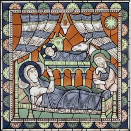 Century Stained Glass - The Nativity 12th Century Stained Glass Chartres Cathedral France Poster Print