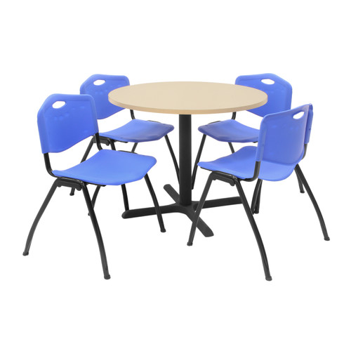 Regency Hospitality Reversible Laminate Table with 4 Stackable Plastic M Chair (Set of 4)