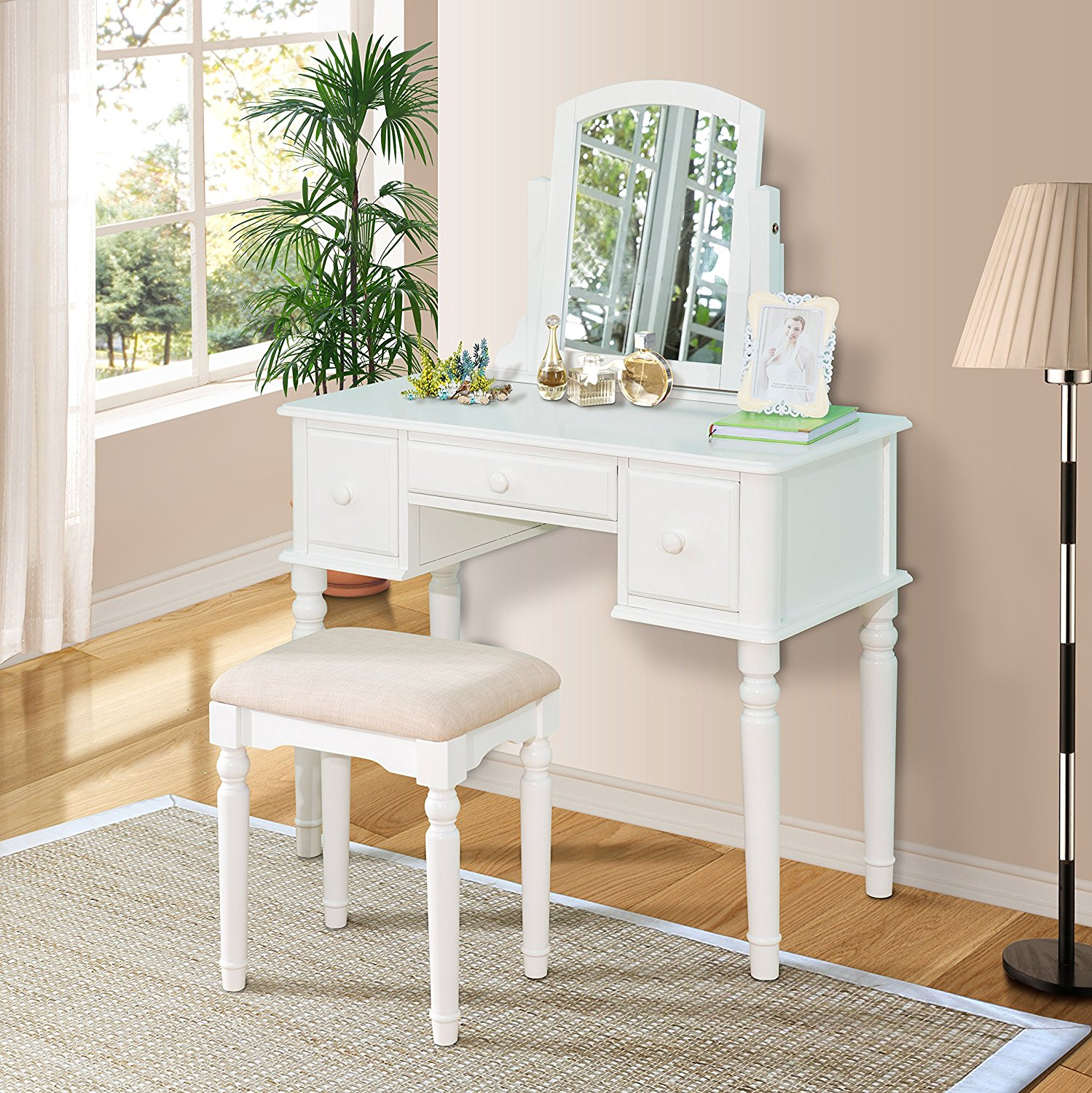 Harper&Bright Designs Wood Vanity Table Set with Mirror and Stool (White)