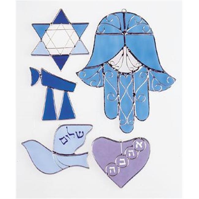 Judaica Kingdom SF-HMS-2004-2 Hamsa & Jewish Blessings - Suncatchers - 2 Chai