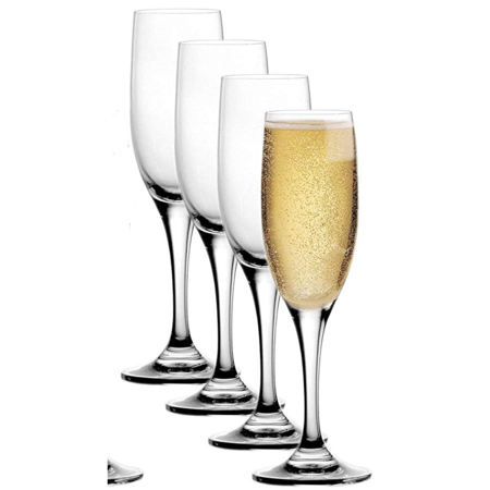 Stolzle Pack Lead-Free Crystal 6.5oz Adela Champagne Flute Wine Glasses Set Germany (4) (Halloween Champagne Flutes)