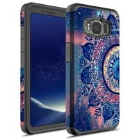 Galaxy S8 Active Case, KAESAR Sleek Slim light weight Hybrid Dual Layer Shockproof Hard Cover Graphic Fashion Cute Colorful Silicone Skin for Samsung Galaxy S8 Active (Purple Mandala)