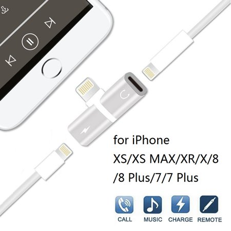 2 in 1 iphone Adapter for Headphones, Headphone Adapter for iphone7/7Plus/8/8Plus/X/XS/XR/XS Max Headset Splitter Adapter, Earphone Jack Dongle Convertor Cable Charger Accessorises, S10172