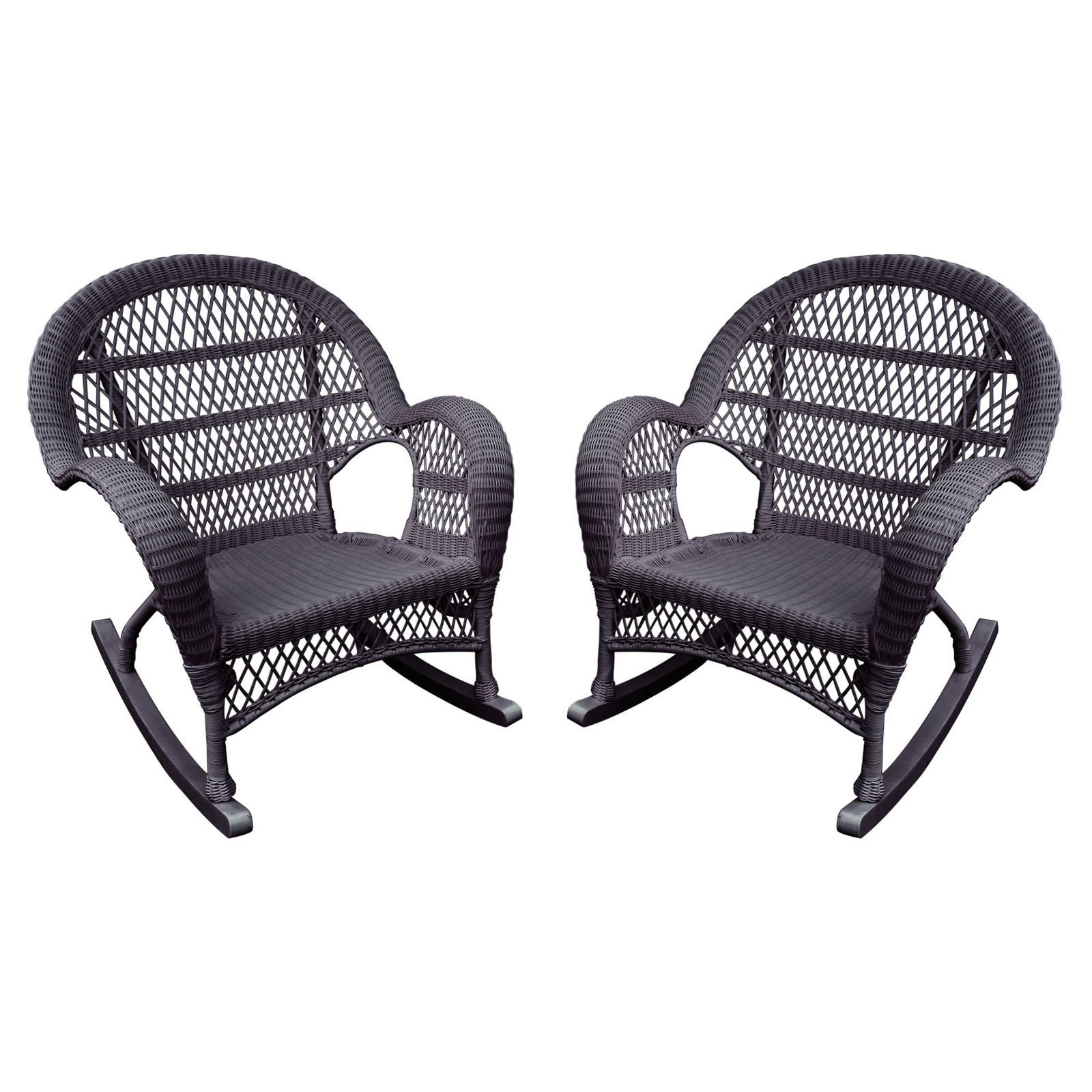 Jeco Santa Maria Wicker Patio Rockers with Optional Cushion - Set of 4
