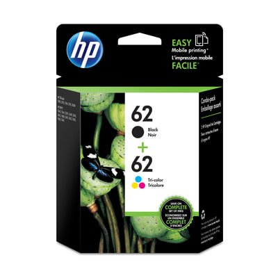 HP 62 Black & Tri-color Original Ink Cartridges, 2 pack
