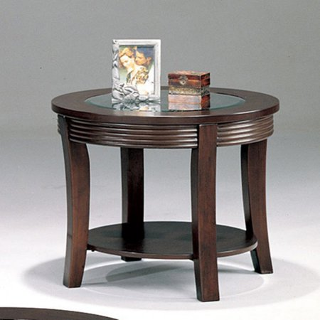 Coaster Furniture Round Glass Top End Table - Cappuccino