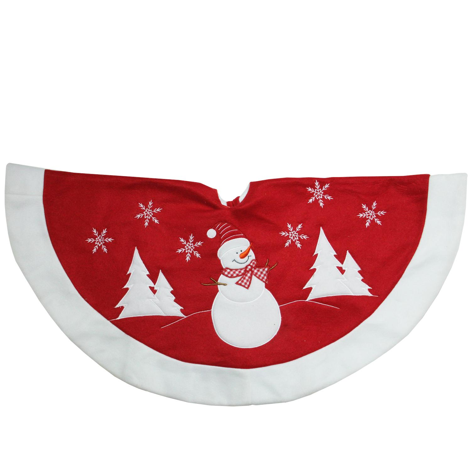 "36"" Red and White Winter Snowman Embroidered Christmas Tree Skirt"