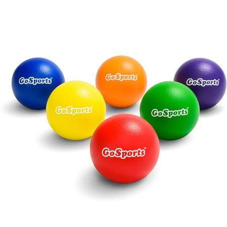 GoSports Multi-Color Elephant Skin Dodgeball Playground Games Ball Set with Mesh Carry Bag, Set of 6, 7