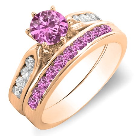 1.00 Carat (ctw) 18k Rose Gold Round Pink Sapphire & White Diamond Ladies Bridal Engagement Ring Set With Matching Band