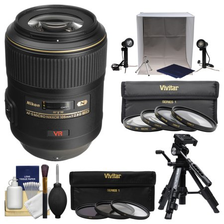Light Gold Lens (Nikon 105mm f/2.8 G VR AF-S Micro-Nikkor Lens with 3 UV/CPL/ND8 & Macro Filters + Portable Light Box + Macro Tripod +)